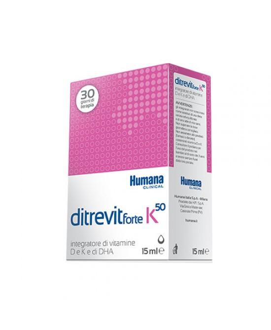 Humana Ditrevit Forte K50 Integratore Alimentare Di Vitamine D, K e DHA 15ml - latuafarmaciaonline.it
