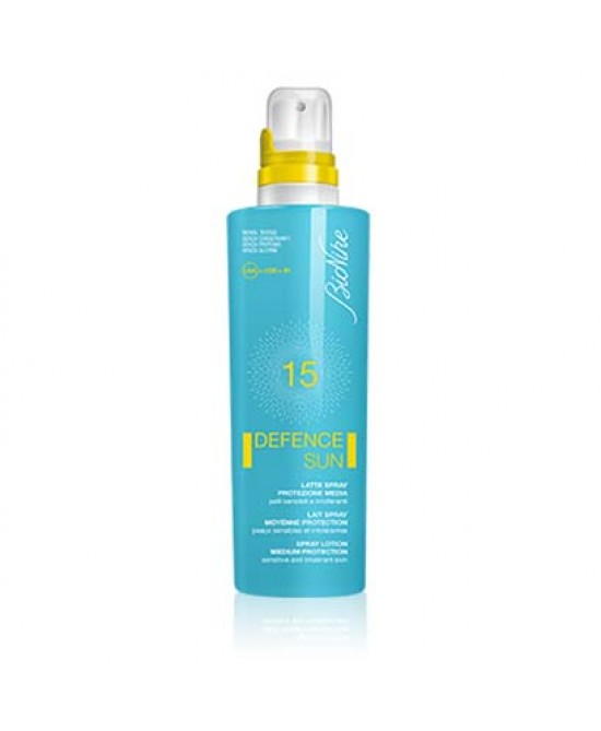 BIONIKE DEFENCE SUN SOLARI LATTE SPRAY SPF 15 PROTEZIONE MEDIA 200 ML - Farmastar.it