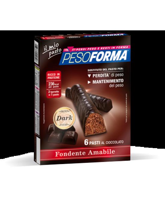 Pesoforma Barrette Al Cioccolato Fondente Amabile 6 Pasti 12 Pezzi - FARMAPRIME