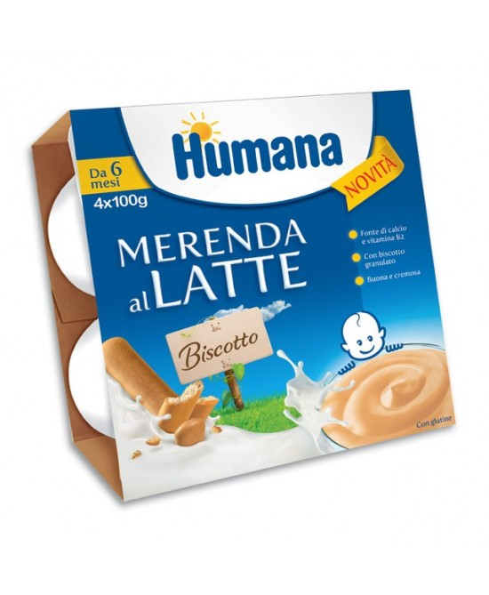 Humana Merenda al Latte Gusto Biscotto 4x100 g