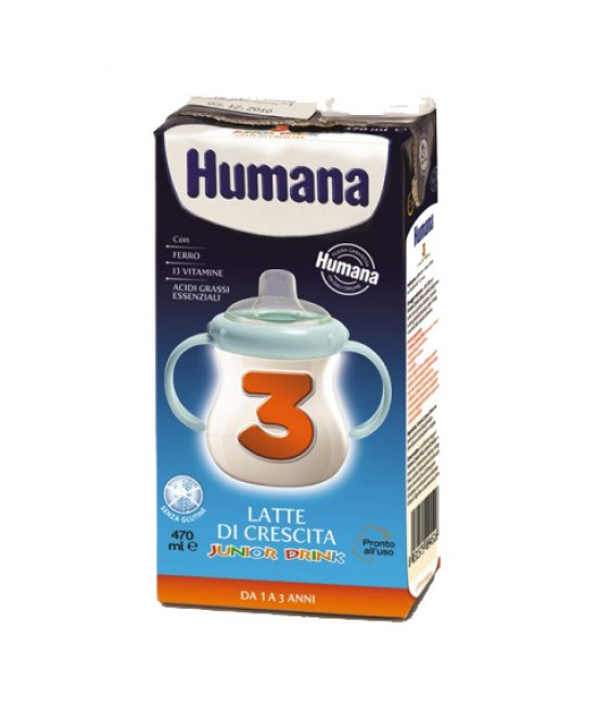 Humana 3 Junior Drink Latte Di Crescita 470ml - Farmabros.it