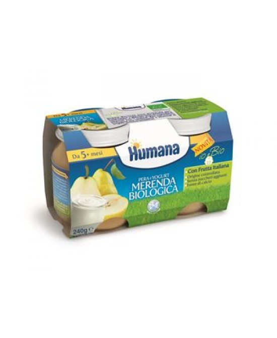 Humana Merenda Biologica Pera E Yogurt 2x120g - Farmabros.it