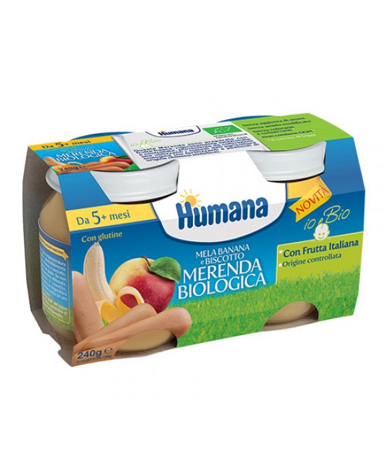 Humana Meranda Biologica Mela Banana E Biscotto  2x120g - Farmabros.it
