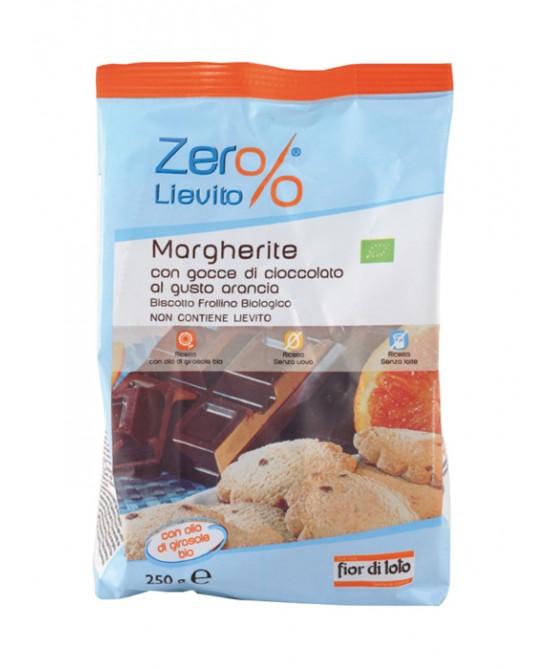 Zero% Lievito Biscotti Margherite Con Gocce Di Cioccolato Gusto Arancia Biologico 250g