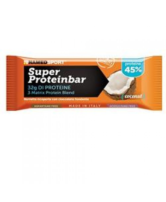 NAMEDSPORT SUPER PROTEINBAR COCONUT BARRETTA IPERPROTEICA 70G - Farmawing