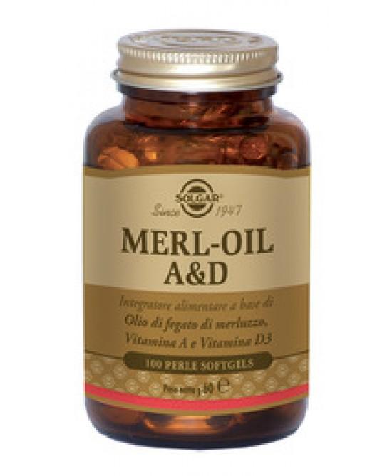 Solgar Merl-Oil A&D Integratore Alimentare 100 Perle - Farmastar.it
