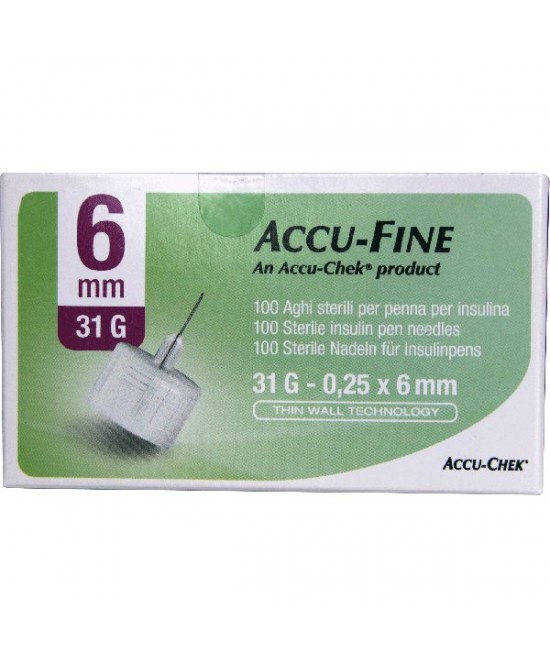 Glucoject Pen Needles 31G 6mm Aghi per Penne da Insulina 100 Pezzi