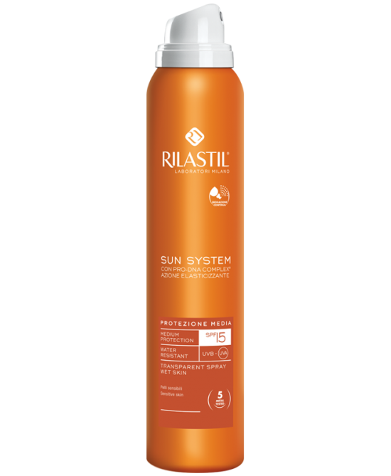 RILASTIL SOLARI SUN SYSTEM SPF 15 SPRAY TRASPARENTE PROTEZIONE MEDIA 200 ML - Farmastar.it