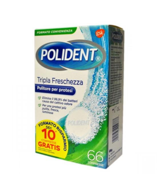 POLIDENT TRIPLA FRESCHEZZA 66 COMPRESSE - Farmaciacarpediem.it