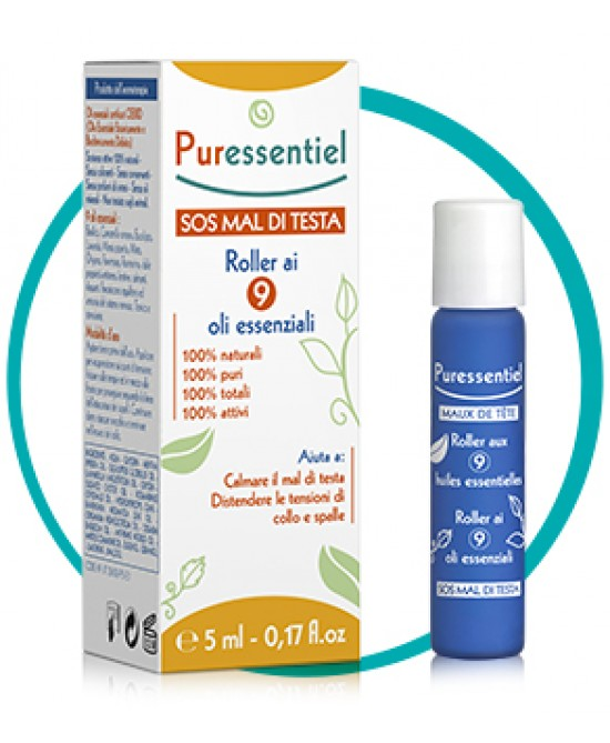 Puressentiel S.O.S. Mal Di Testa Roller Ai 9 Oli 5ml - Farmabros.it