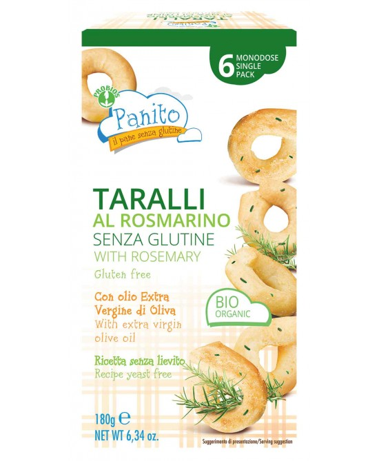 PANITO TARALLI ROSMARINO SENZA GLUTINE E SENZA LIEVITO 180 G - Farmaciacarpediem.it