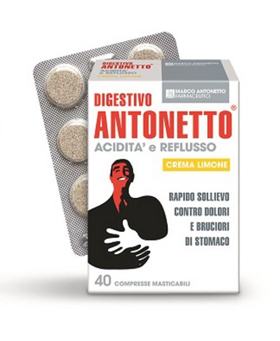 Marco Antonetto Digestivo Antonetto Acidità E Reflusso Crema Limone 40 Compresse Masticabili - Farmapage.it
