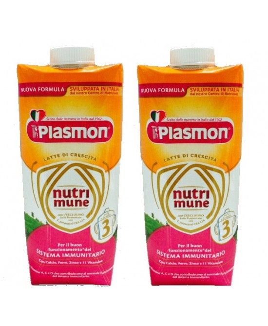 Plasmon Latti Di Crescita Nutrimune Stage 3 Liquido  2x500ml - Farmafamily.it