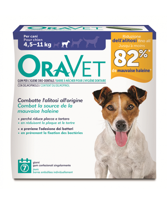 OraVet Oral Hygiene Chews Dog Taglia Media (4,5kg - 11 Kg) 7 Pezzi - Farmajoy