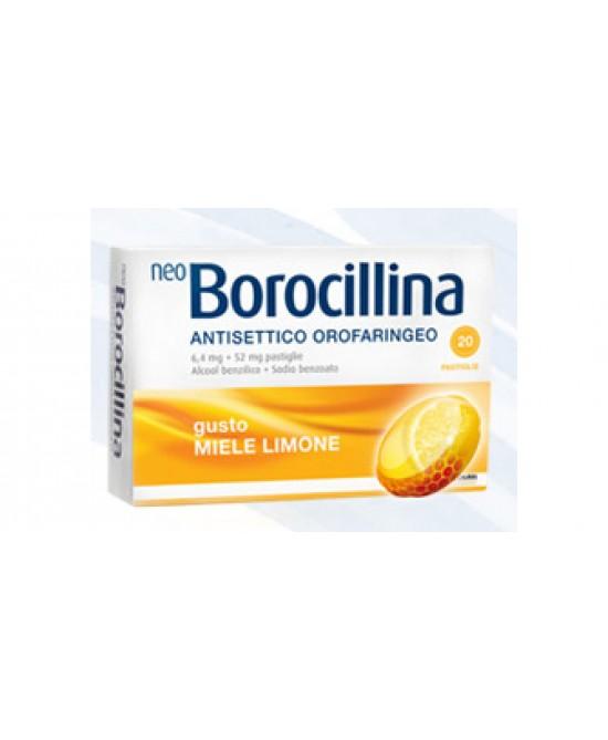 NeoBorocillina Antisettico Orofaringeo 6,4 mg + 52 mg Miele E Limone  20 Pastiglie - Farmastop