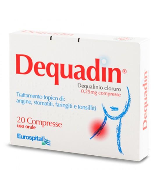 Eurospital Dequadin 0,25mg Trattamento Stomatiti Tonsilliti 20 Compresse - Farmastar.it