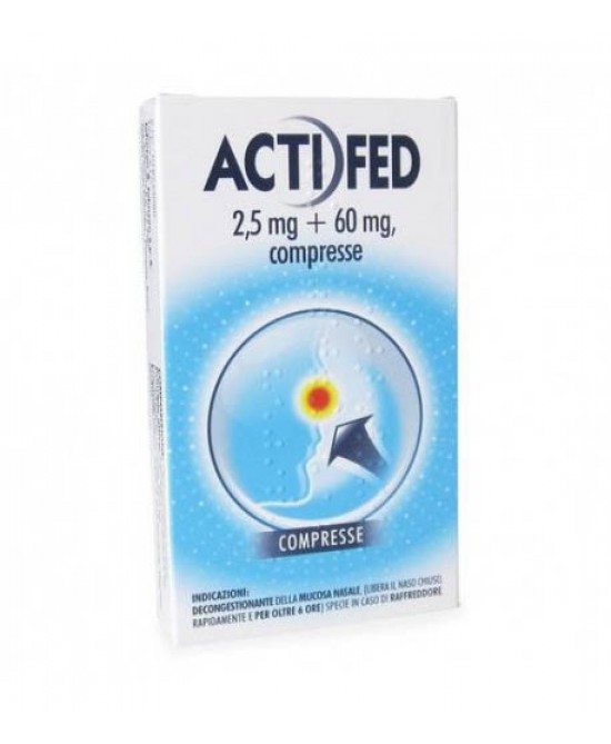 Actifed 2,5mg+60mg Decongestionante Della Mucosa Nasale 12 Compresse - Farmapage.it