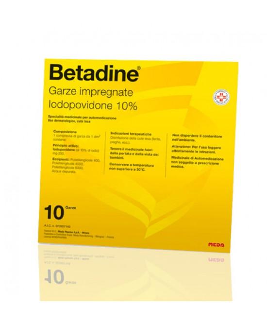 Betadine 10% Iodopovidone 10 Garze Impregnate 10 x10 offerta