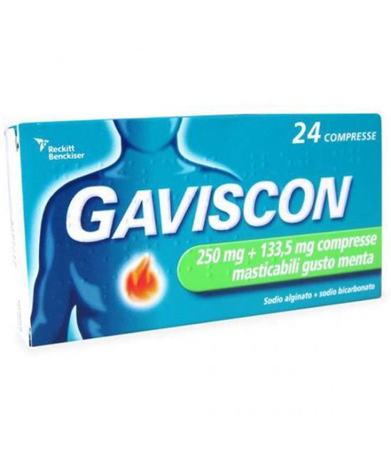 Gaviscon 24 Compresse Masticabili Menta 250+133,5MG - Farmacento