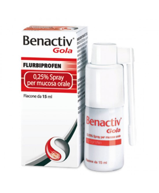 Benactiv Gola Fulbiprofene 0,25% Spray Per Mucosa Orale15ml - Farmajoy