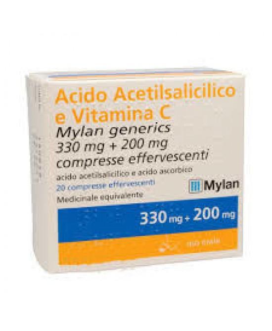 Acido Acetilsalicilico E Vitamina C Mylan 330 mg + 200 mg 20 Compresse Effervescenti - FARMAEMPORIO
