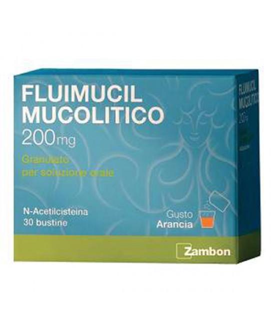 Zambon Fluimucil Mucolitico 200mg Granulato Soluzione Orale Trattamento Affezioni Respiratorie 30 Bustine - Farmastar.it
