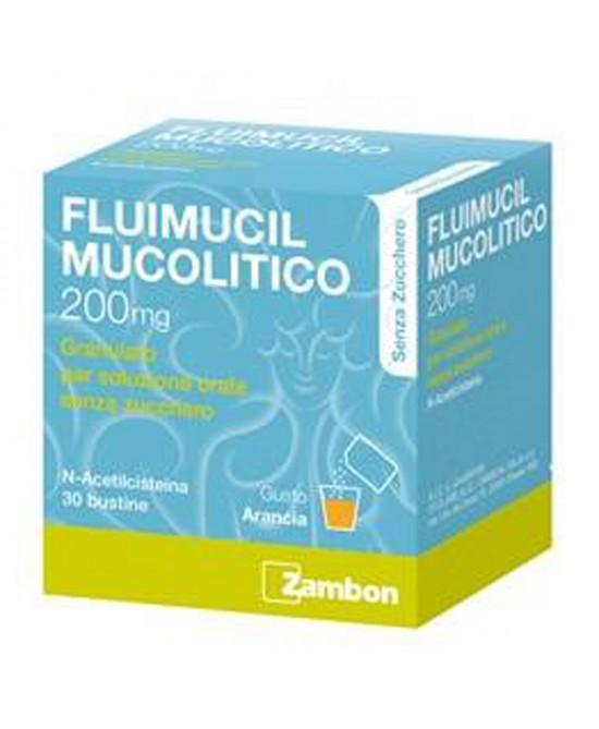 Zambon Fluimucil Mucolitico 200mg Granulato Soluzione Orale Senza Zucchero Trattamento Affezioni Respiratorie 30 Bustine - Farmastar.it