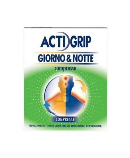 Actigrip Giorno E Notte Compresse Trattamento Sintomi Raffreddore E Influenza 12+4 Compresse - Farmacia 33