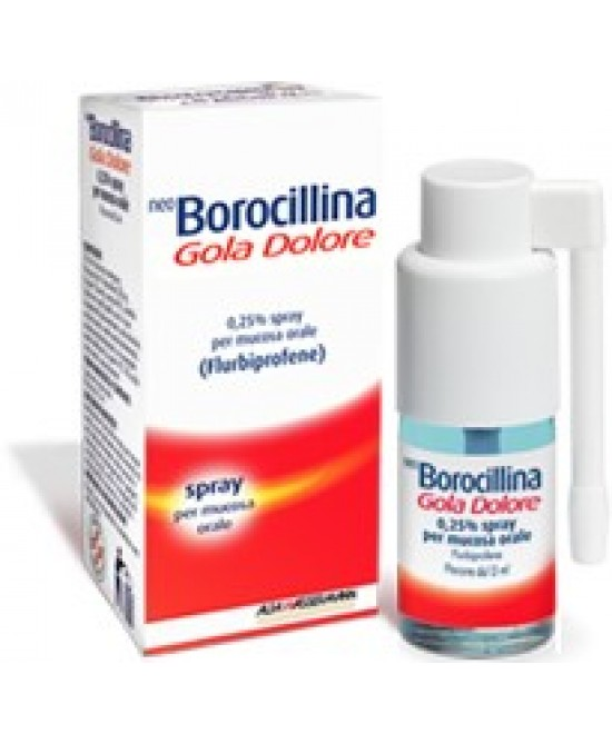 NeoBorocillina Gola Dolore Flurbiprofene 0.25g Spray 15ml - Farmastop
