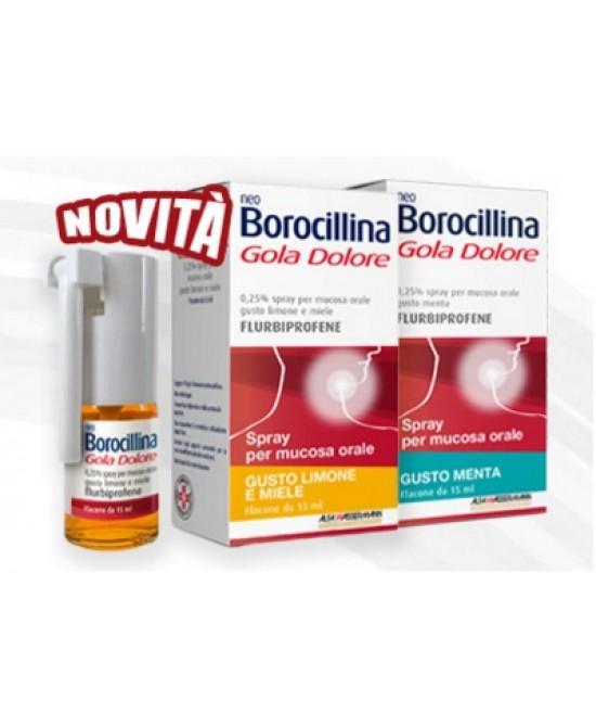 Alfa Wassermann Neoborocillina Gola Dolore 0,25% spray Limone & Miele 15ml - Farmaciaempatica.it