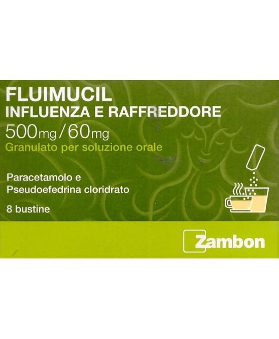 Zambon Fluimucil Influenza E Raffreddore 500mg/60mg 8 Bustine - Farmacia 33