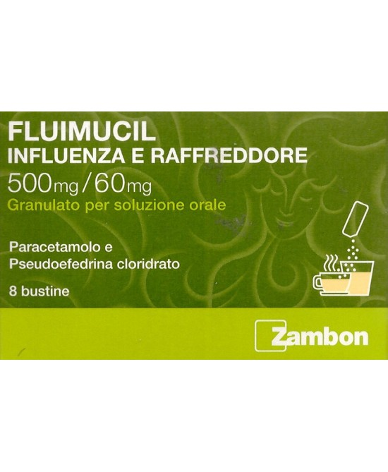 Zambon Fluimucil Influenza E Raffreddore 500mg/60mg 8 Bustine - Zfarmacia