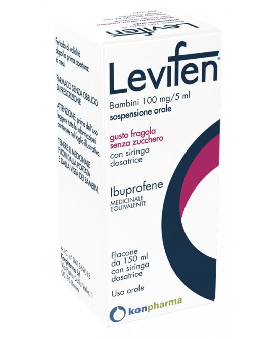 Levifen 100mg/5ml  Sospensione Orale Fragola 150ml - FARMAEMPORIO