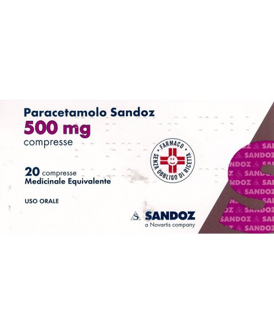 Paracetamolo Sandoz 500mg 20 Compresse - Farmastar.it