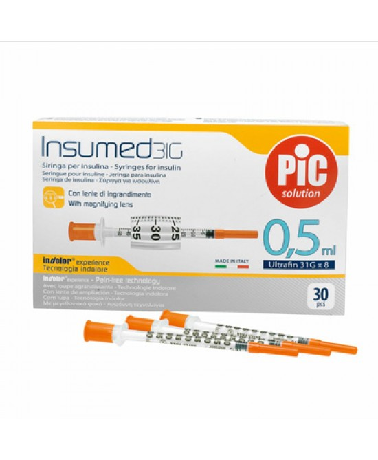 Pic Siringa Per Insulina 0,5ml 29g 12,7mm 30 Pezzi