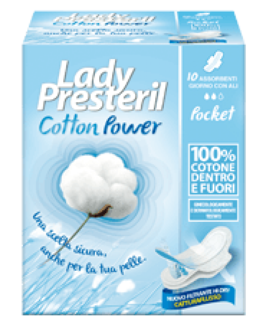 Lady Presteril Cotton Power Con Ali Assorbenti Poket In Cotone 10 Pezzi - Farmafamily.it