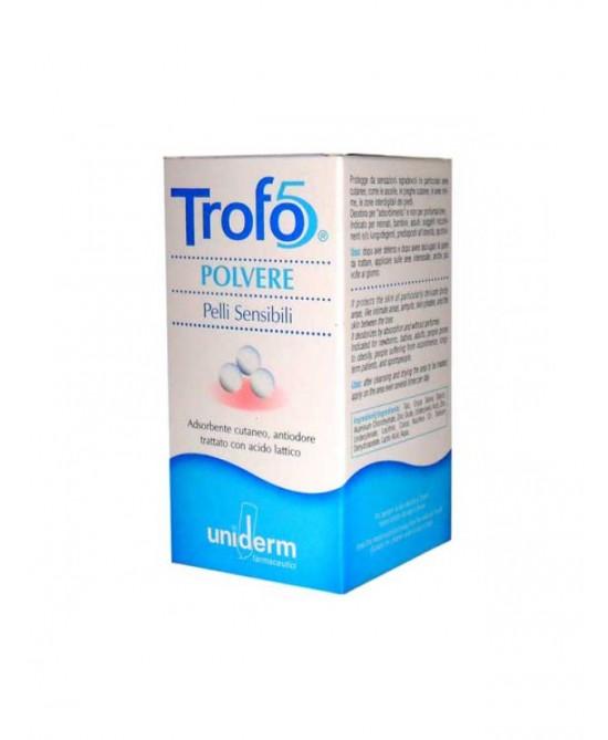Uniderm Trofo5 Polvere Adsorbente Cutaneo, Antiodorante, Acidificante Con Acido Lattico 50g - Farmafamily.it