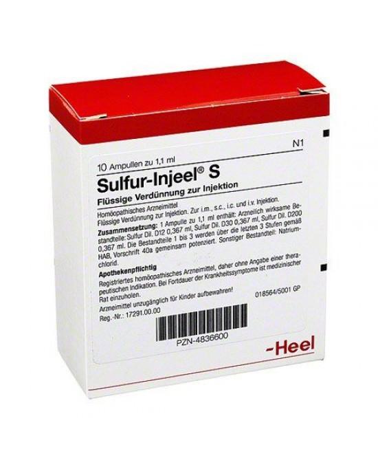 Heel Sulfur-Injeel S 10 Fiale Da 1,1ml