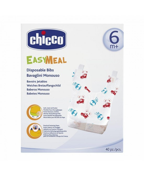 Chicco Easy Meal Bavaglini Monouso +6Mesi 40 Pezzi - Farmafamily.it