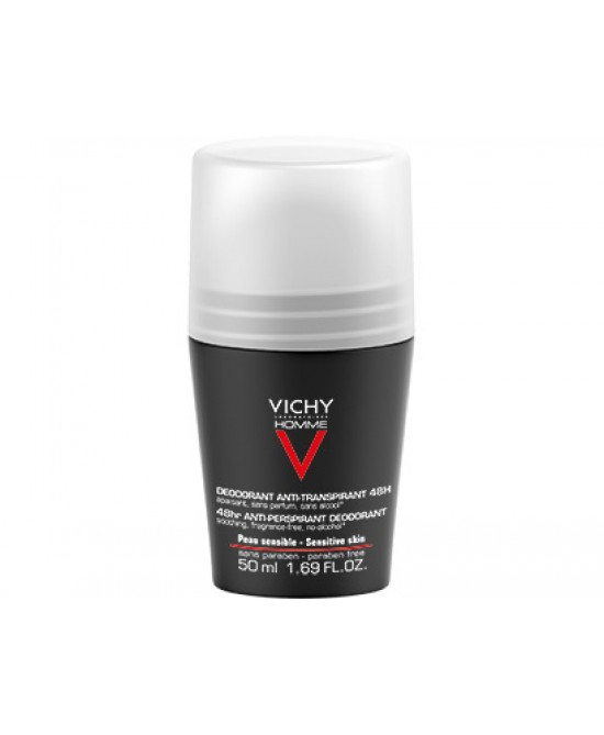 Vichy Homme Deodorante Roll-On 48h Pelle Sensibile 50 ml