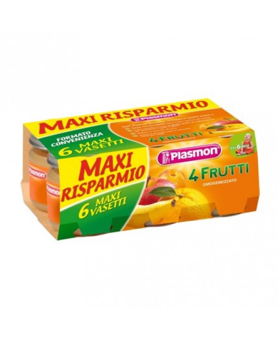 Plasmon Omogeneizzato Di Frutta 4 Frutti  6x104g - La farmacia digitale