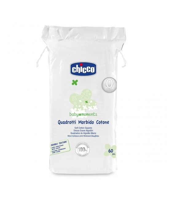 Chicco Quadrotti Morbido Cotone Baby Moments 60 Pezzi - Farmafamily.it