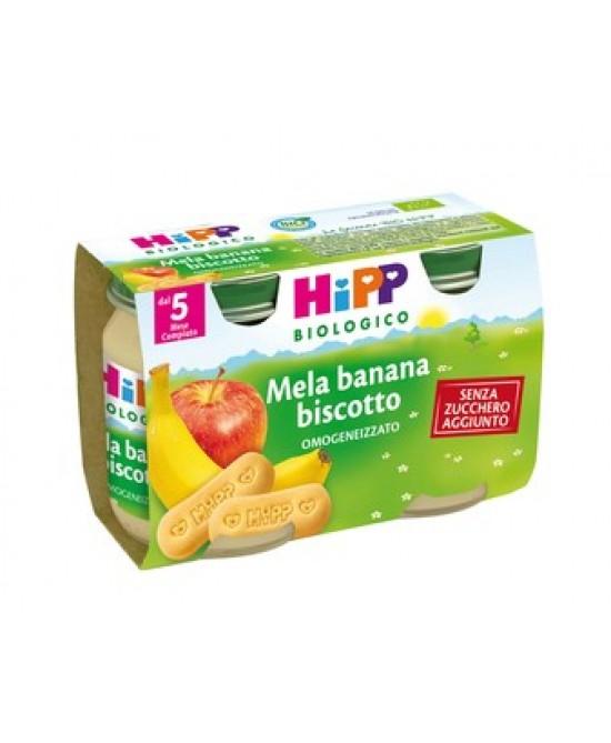 Hipp Biologico Omogeneizzato Mela Banana E Biscotto 2x125g - Farmafamily.it