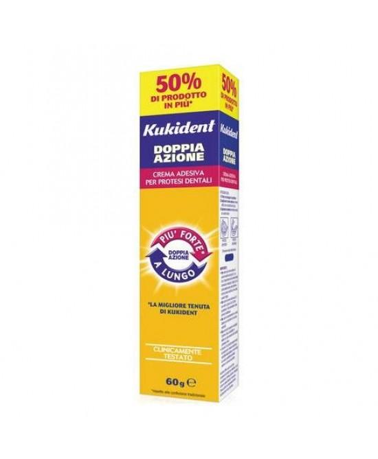 Kukident Doppia Azione Crema Adesiva per Protesi Dentali 60 g - Farmalilla