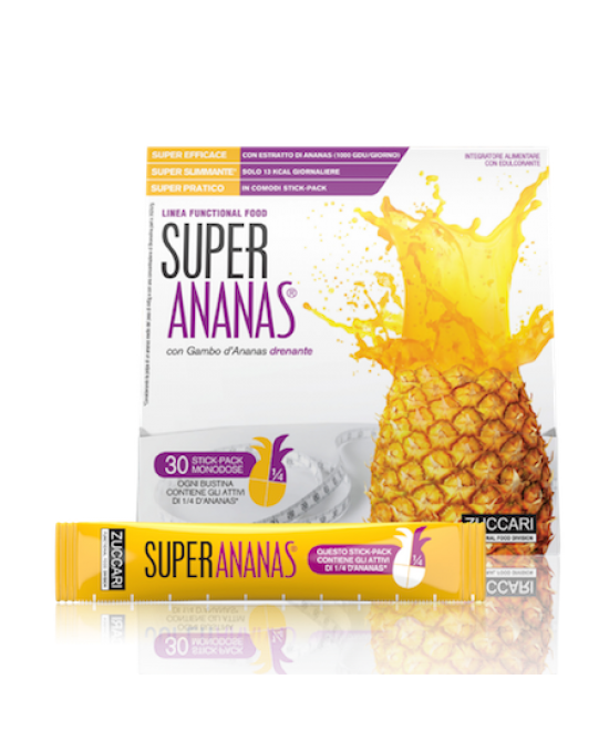 Zuccari Super Ananas Integratore Alimentare Drenante 30 Stick Pack Da 10 ml - Farmastar.it