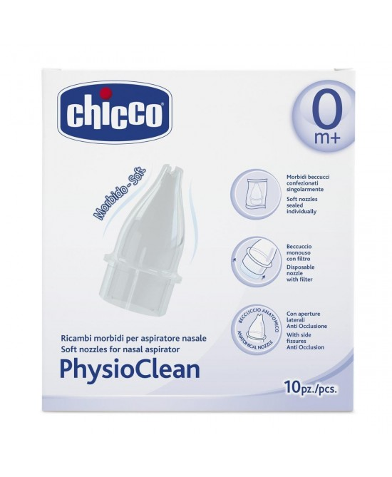Chicco Ricambi Morbidi Per Aspiratore Nasale Physioclean 10 Pezzi - Farmacia 33