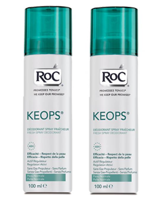 Roc Keops Deodorante Spray Fresco Senza Profumo 48h  2x100ml - Farmaci.me