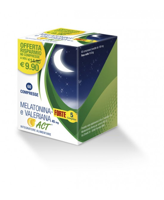 F&F Melatonina ACT  + Forte 5 Complex E Valeriana Integratore Alimentare 60 Compresse - Farmafamily.it