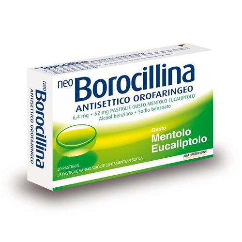 NeoBorocillina Antisettico Orofaringeo 6,4mg + 52mg  Mentolo Eucaliptolo 20 Pastiglie - Farmaciacarpediem.it