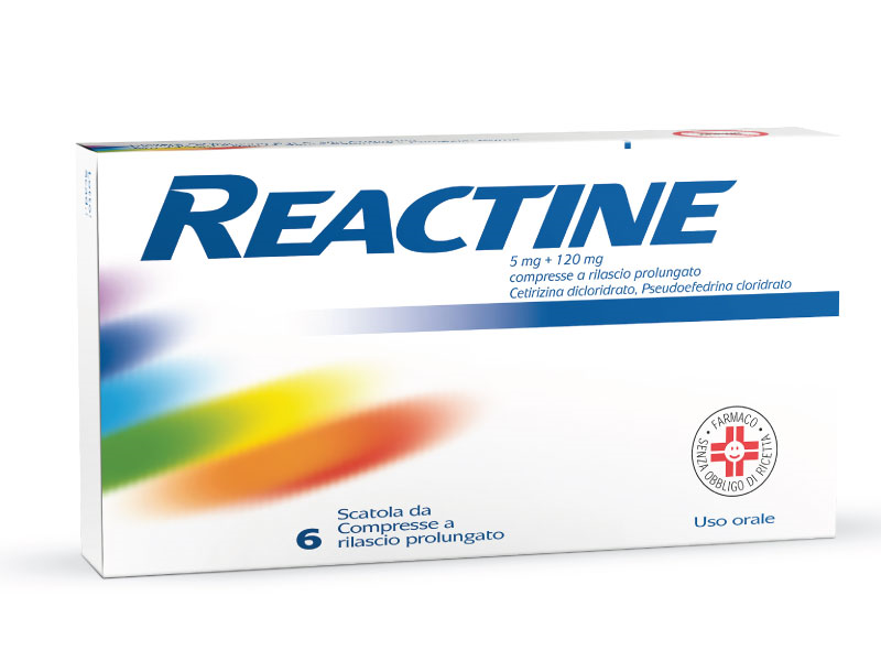 REACTINE*6CPR 5MG+120MG RP - Farmacento